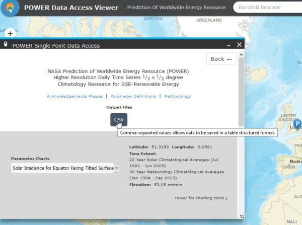 ¿ Como saber la irradiacion solar en cualquier parte del mundo usando la base de datos de la Nasa ?
